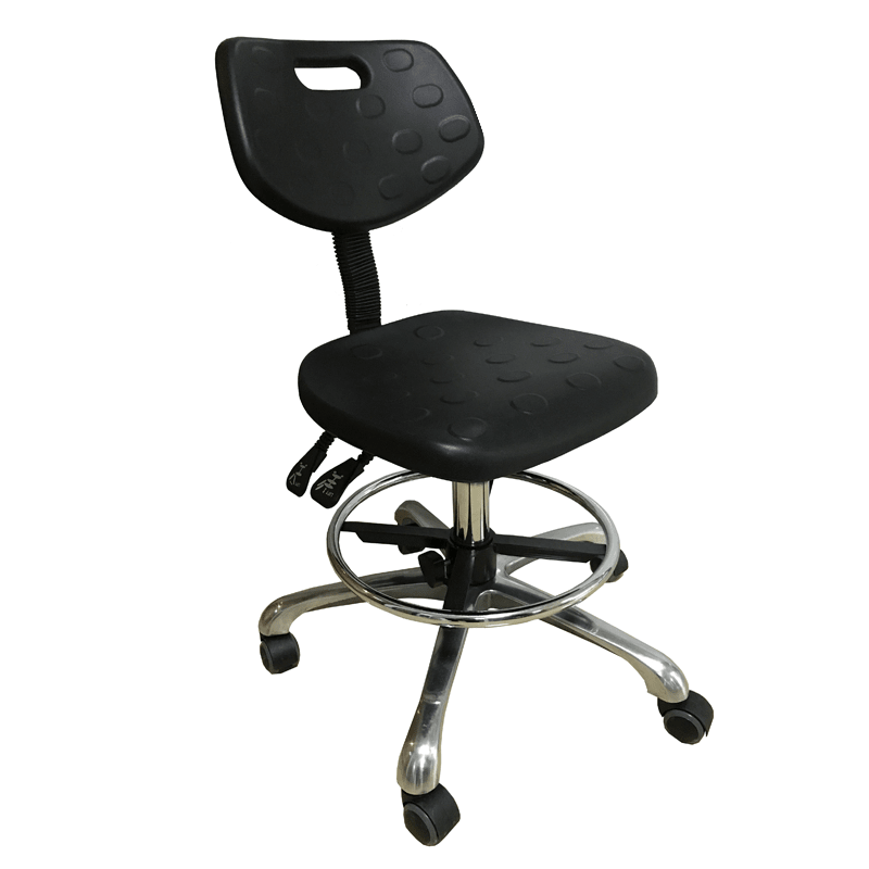 Metal lab stool with wheels for armrest