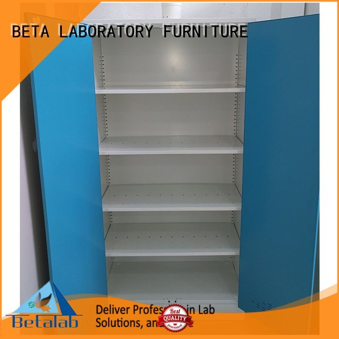 BETA adjustable chemical storage cabinets reagent lab